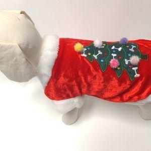 PamPet Holiday Christmas Tree Dog Velour Coat